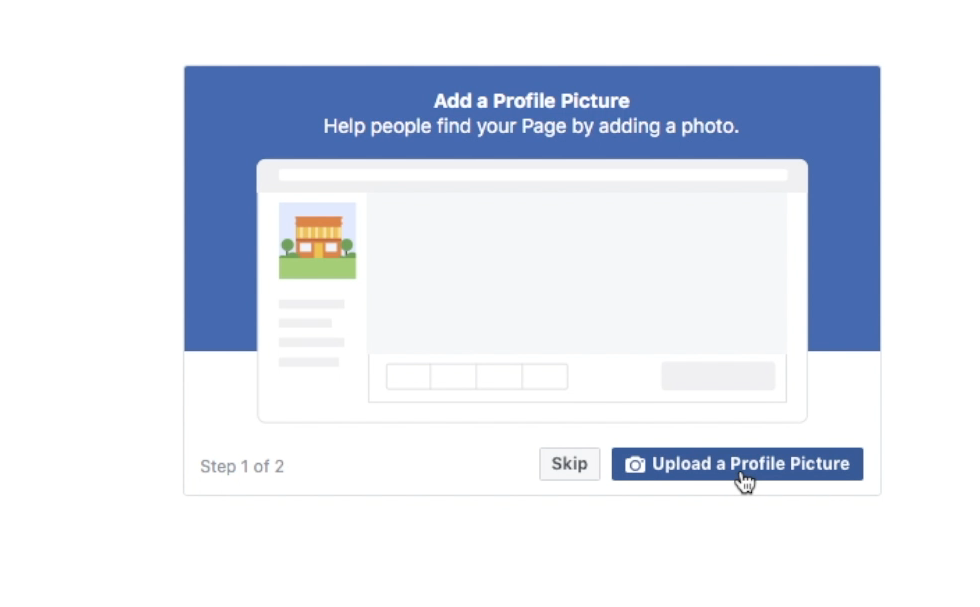 Upload a profile picture when setting up your Facebook Business Page