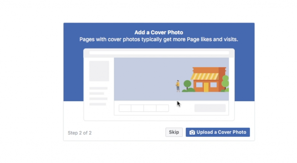 Upload your cover photo when you are setting up your Facebook Business Page