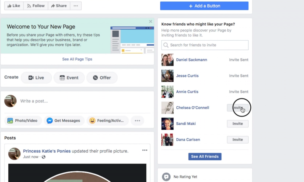 Ask your friends to like your page when you create your Facebook Business Page