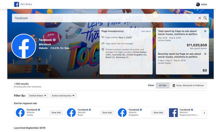 this is showing the ad library of facebook